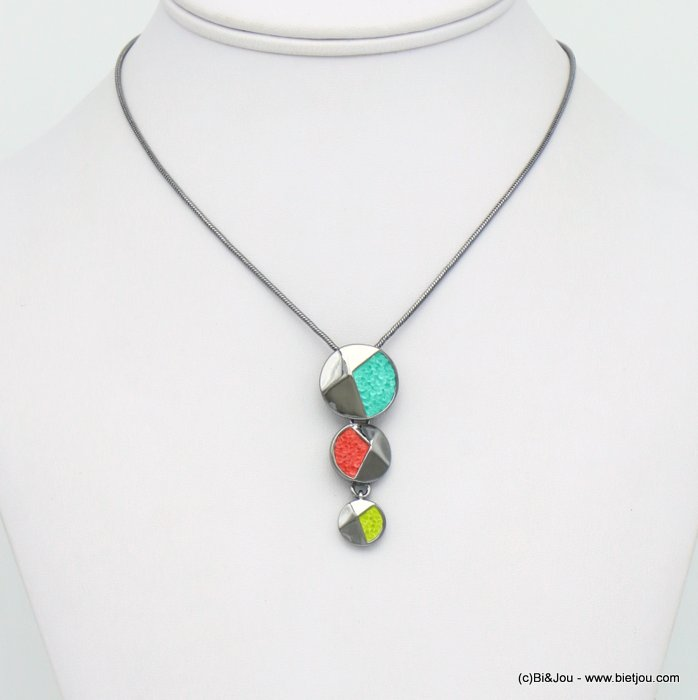 necklace 0120037-99 layered disc geometric pendent metal coloured rhinstone woman snake chain 20x45mm