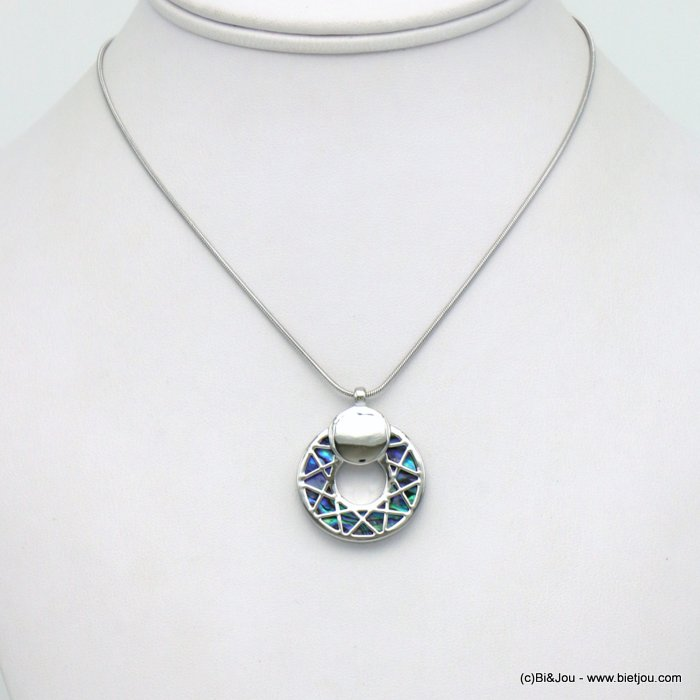 necklace 0120038-29 round chequered pendant metal abalone shell woman snake chain 25mm