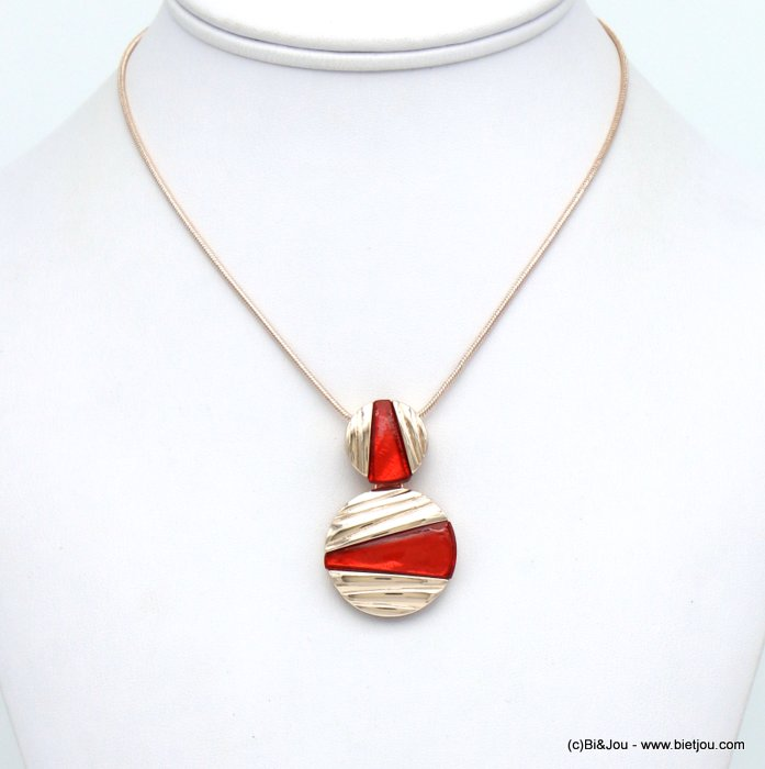 necklace 0120040-36 geometric pendant metal coloured resin woman snake chain 28x45mm