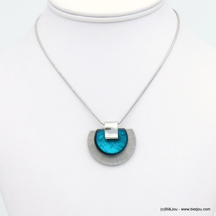 necklace 0120041-09 half-moon pendant metal coloured resin woman snake chain 35x30mm