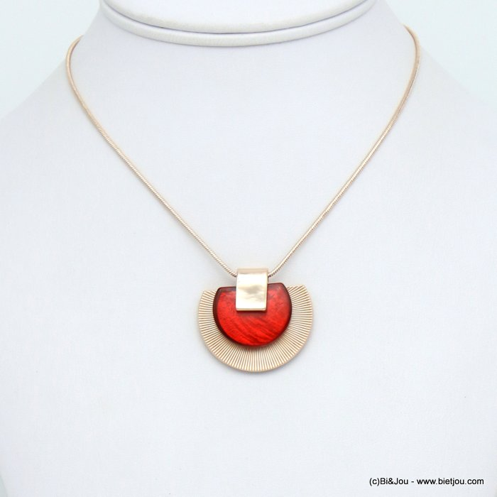 necklace 0120041-36 half-moon pendant metal coloured resin woman snake chain 35x30mm