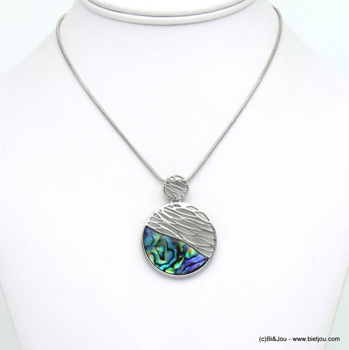 necklace 0120042-29 geometric pendant metal abalone shell woman snake chain 35x45mm