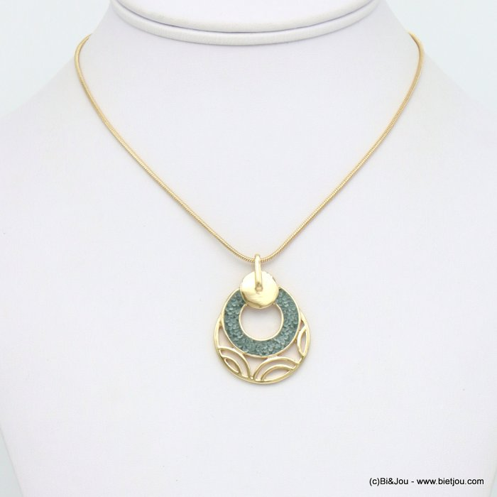 necklace 0120044-03 round geometric pendent metal coloured rhinstone woman snake chain 30mm