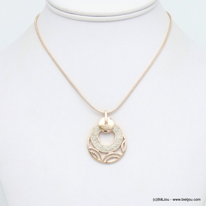 necklace 0120044-06 round geometric pendent metal coloured rhinstone woman snake chain 30mm