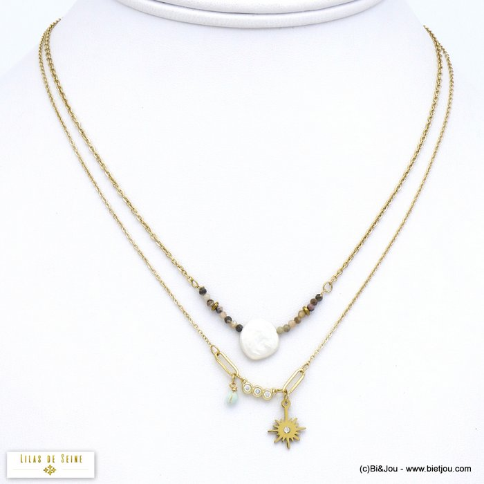 necklace 0120045-02 double-row stainless steel North star natural stone freshwater pearl rhinestone woman slave link chain