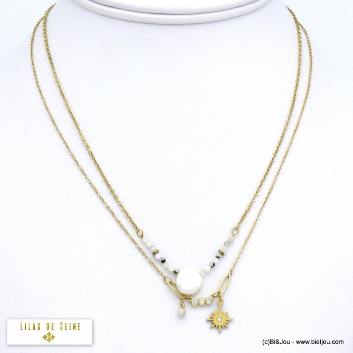 necklace 0120045-19 double-row stainless steel North star natural stone freshwater pearl rhinestone woman slave link chain