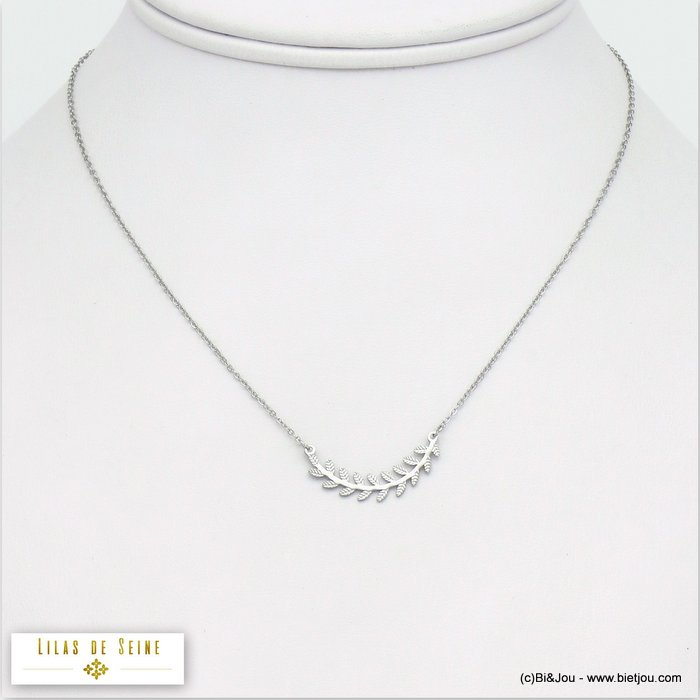 necklace 0120065-13 curved bay leaf stainless steel slave link chain woman