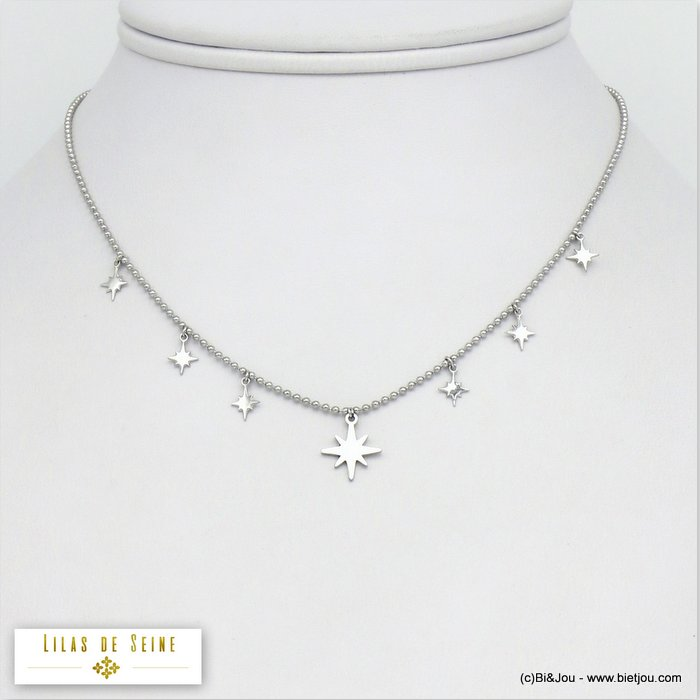 necklace 0120067-13 small pole star pendants stainless steel woman