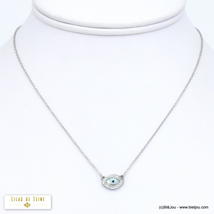 necklace 0120071-13 stainless steel blue evil Greek eye rhinestone woman slave link chain