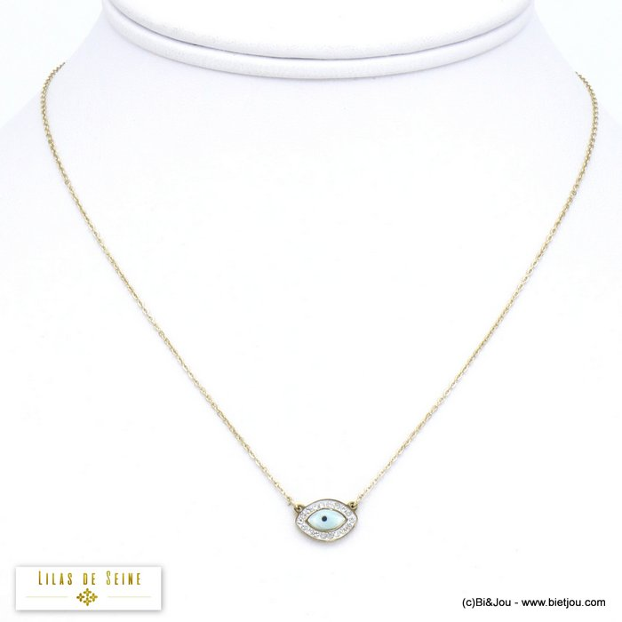 necklace 0120071-14 stainless steel blue evil Greek eye rhinestone woman slave link chain