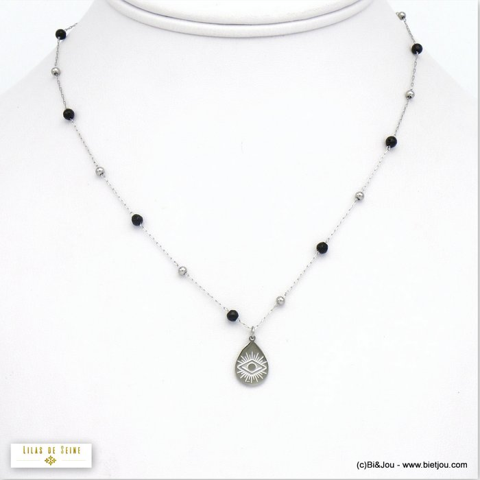 necklace 0120073-13 protection eye pendant and black silver balls stainless steel woman