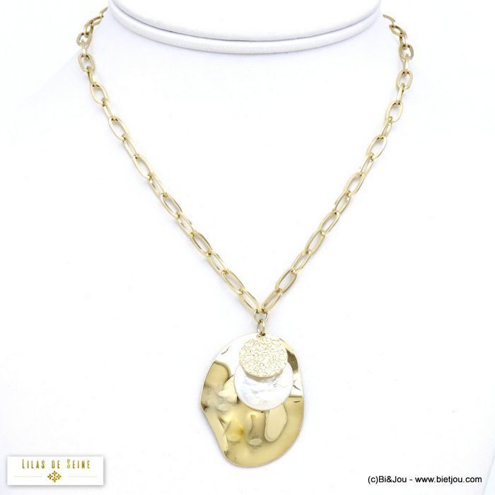 necklace 0120090-14 stainless steel hammered pendant natural shell woman oval mesh chain