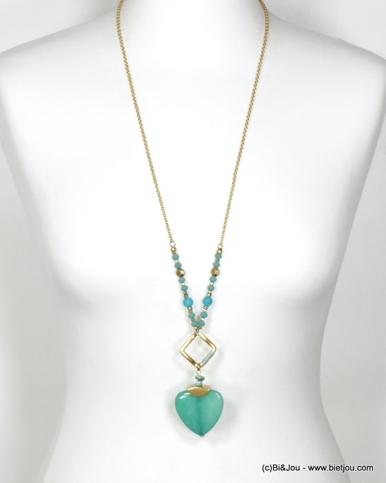 long necklace 0120096-07 sautoir heart metal-crystal-reconstitued stone-shell-polyester