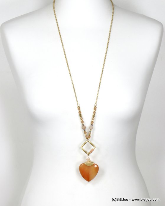 long necklace 0120096-18 sautoir heart metal-crystal-reconstitued stone-shell-polyester