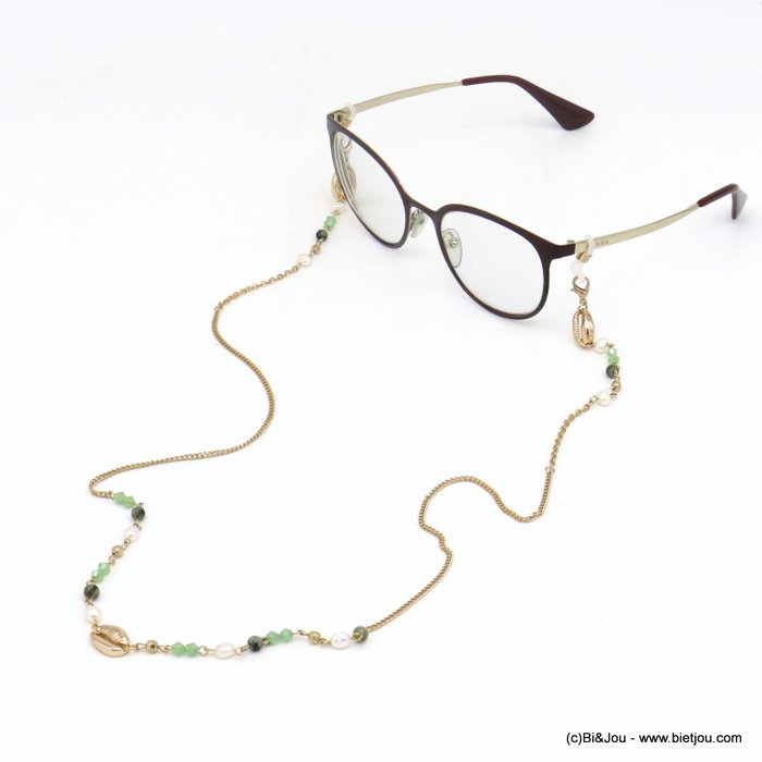 Glasses Chain 0120112-07 shell pearl-metal-crystal-reconstituted stone