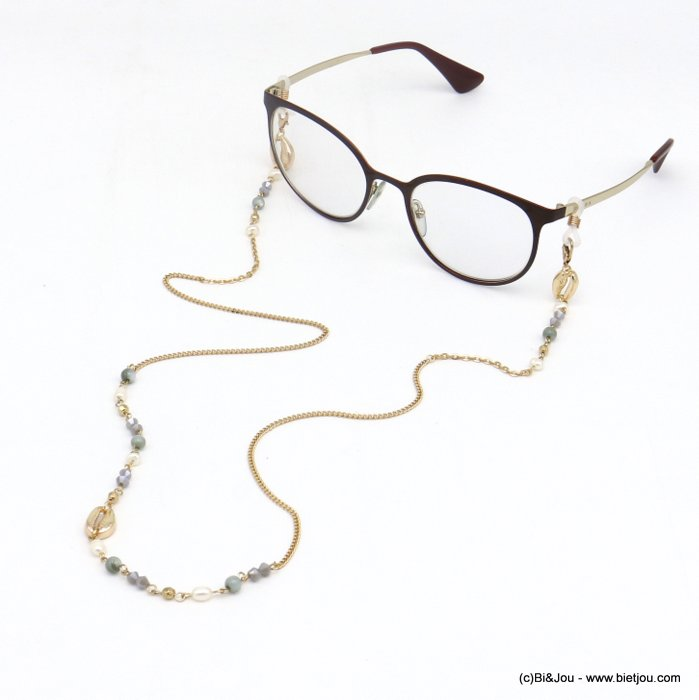 Glasses Chain 0120112-25 shell pearl-metal-crystal-reconstituted stone