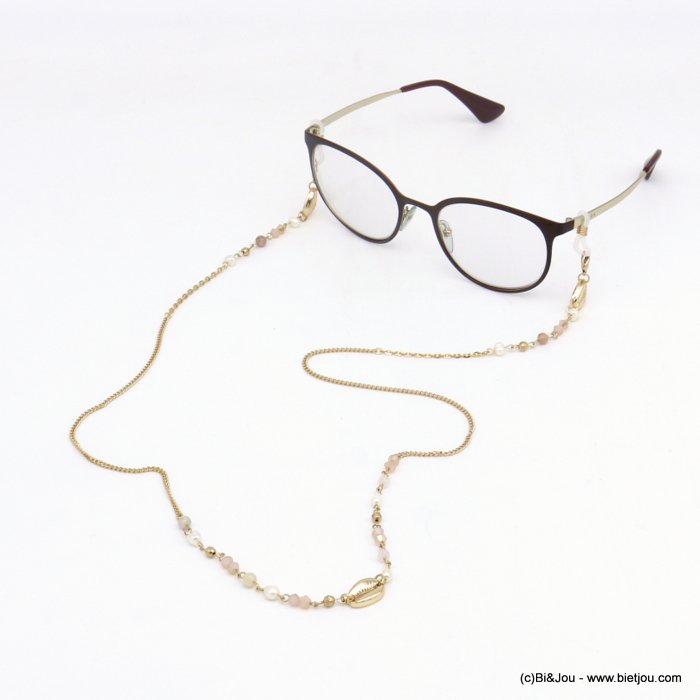 Glasses Chain 0120112-33 shell pearl-metal-crystal-reconstituted stone