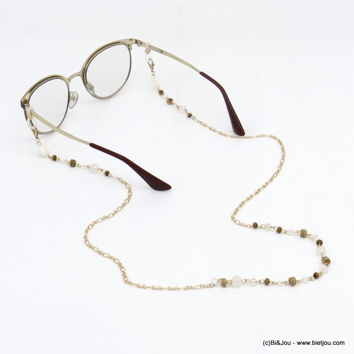 Glasses Chain 0120113-06 coco-wood-metal-crystal-reconstituted stone