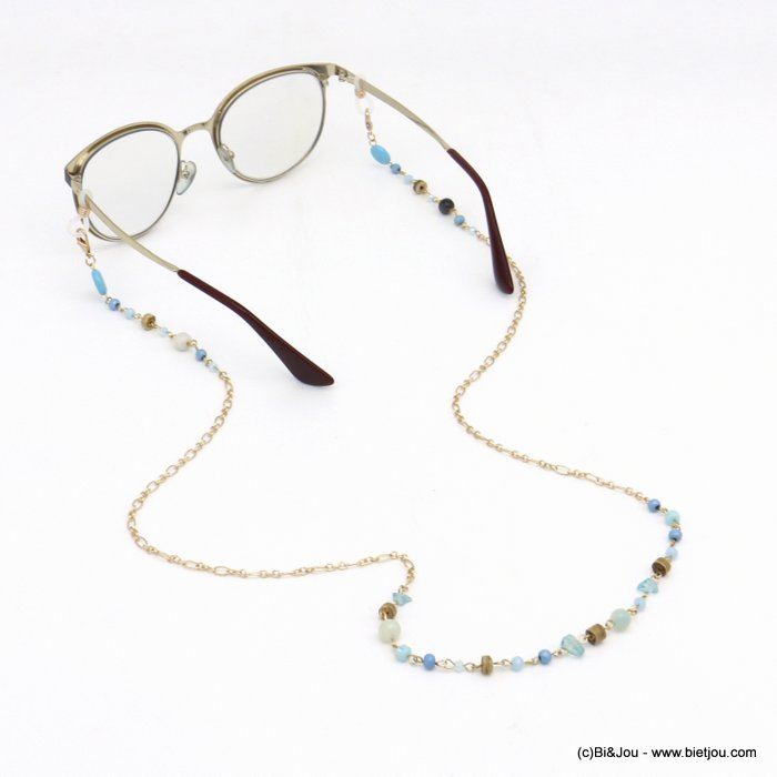 Glasses Chain 0120113-17 coco-wood-metal-crystal-reconstituted stone