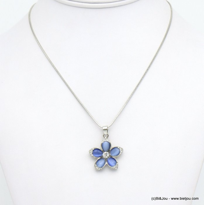 necklace 0120117-08 flower metal-glass-strass