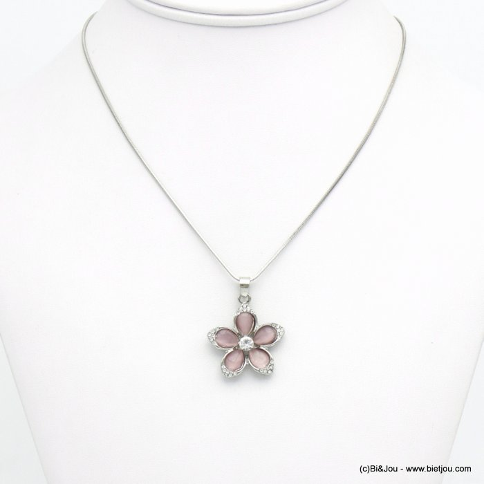 necklace 0120117-18 flower metal-glass-strass