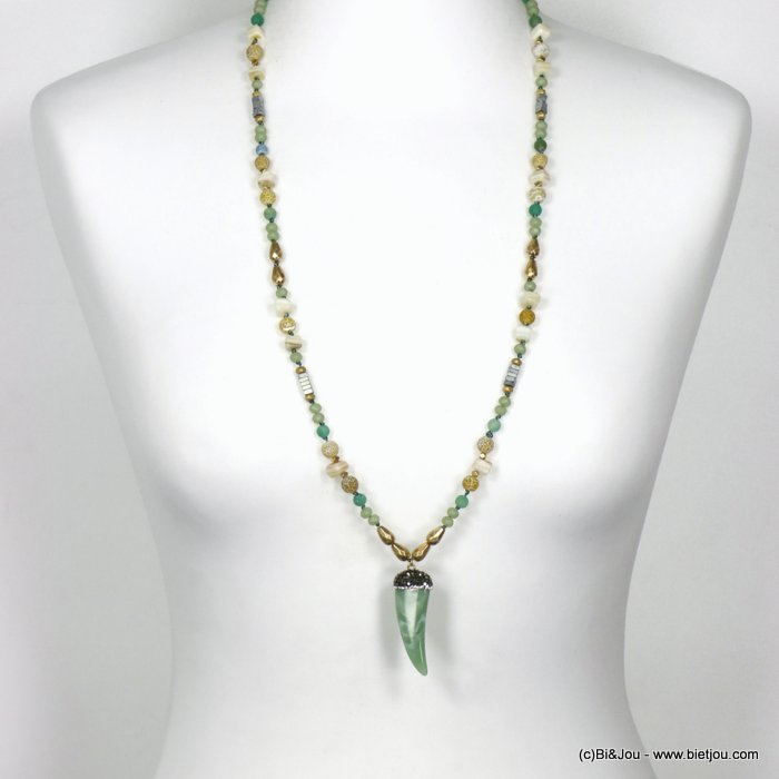 long necklace 0120121-07 sautoir horn of plenty resin crystal rhinestone imitation reconstituted stone shell polyester glass
