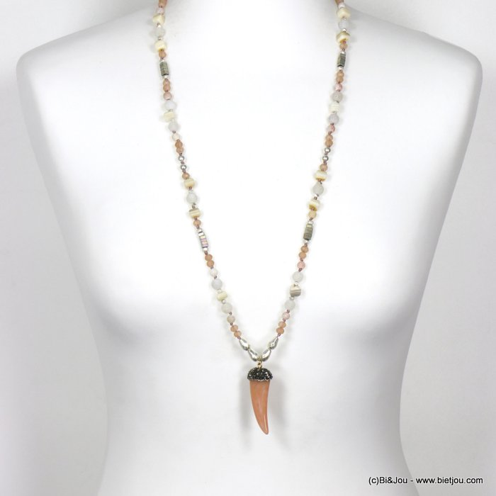long necklace 0120121-18 sautoir horn of plenty resin crystal rhinestone imitation reconstituted stone shell polyester glass