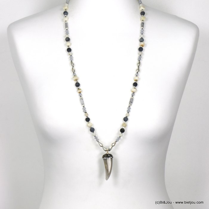 long necklace 0120121-25 sautoir horn of plenty resin crystal rhinestone imitation reconstituted stone shell polyester glass