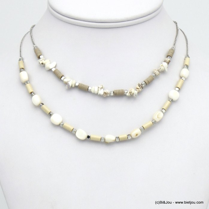 necklace 0120126-06 shell-reconstituted stone-wood-acrylic-metal