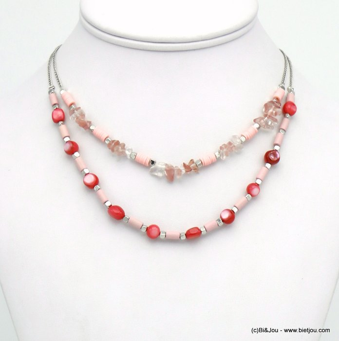 necklace 0120126-36 shell-reconstituted stone-wood-acrylic-metal