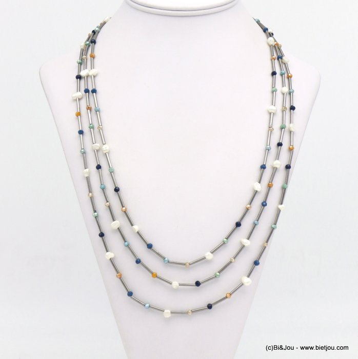 necklace 0120132-08 crystal-metal-freshwater pearl