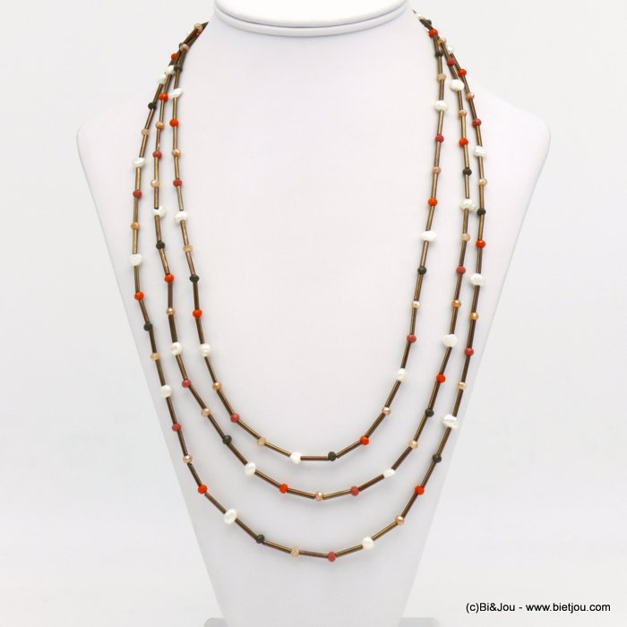 necklace 0120132-43 crystal-metal-freshwater pearl