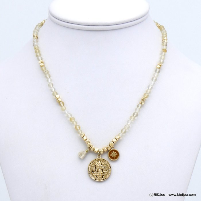 necklace 0120133-06 natural balls stone medaillon pendant north star pearl pompom metal woman