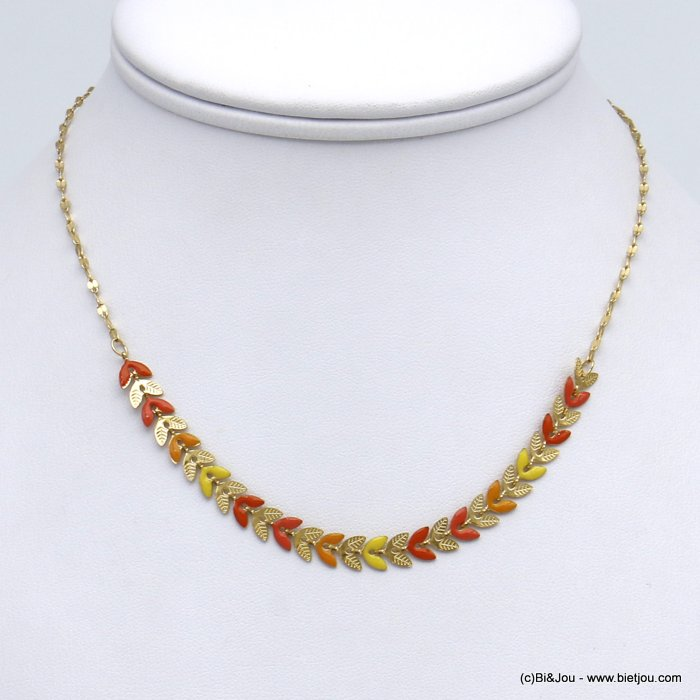 necklace 0120135-43 colored enamel bay leaf golden stainless steal woman