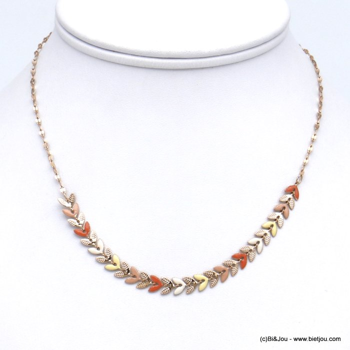 necklace 0120135-99 colored enamel bay leaf golden stainless steal woman