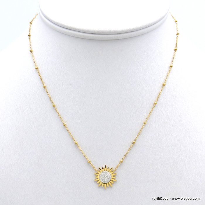 necklace 0120142-14 sun strass slave link chain woman