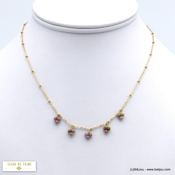 necklace 0120144-30 drop beads natural stone balls stainless steel woman