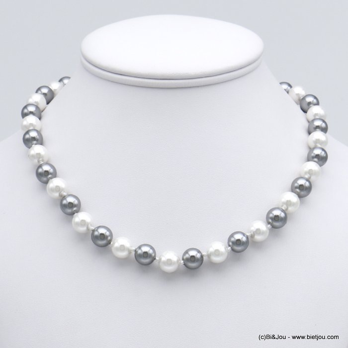 necklace 0120151-13 glass pearl chic spring clasp in metal women