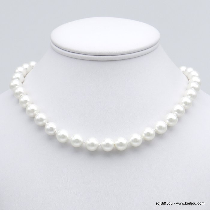 necklace 0120151-19 glass pearl chic spring clasp in metal women