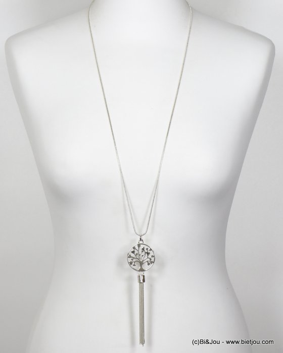 necklace 0120152-13 long round tree of life pendant and thread tassel snake chain in metal women