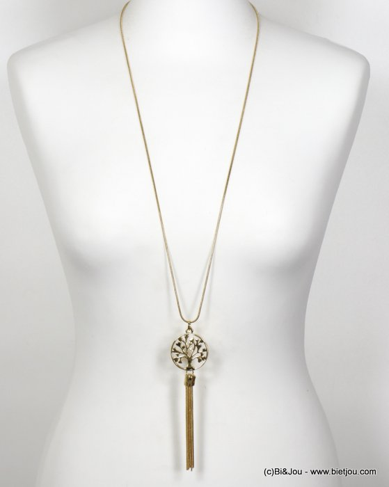 necklace 0120152-14 long round tree of life pendant and thread tassel snake chain in metal women
