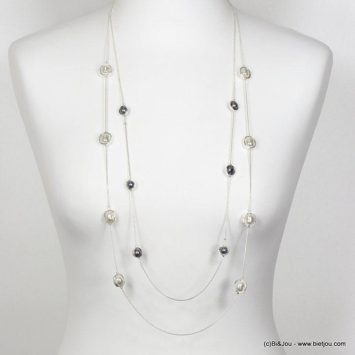 necklace 0120155-13 long double row with pearl imitation in metal women