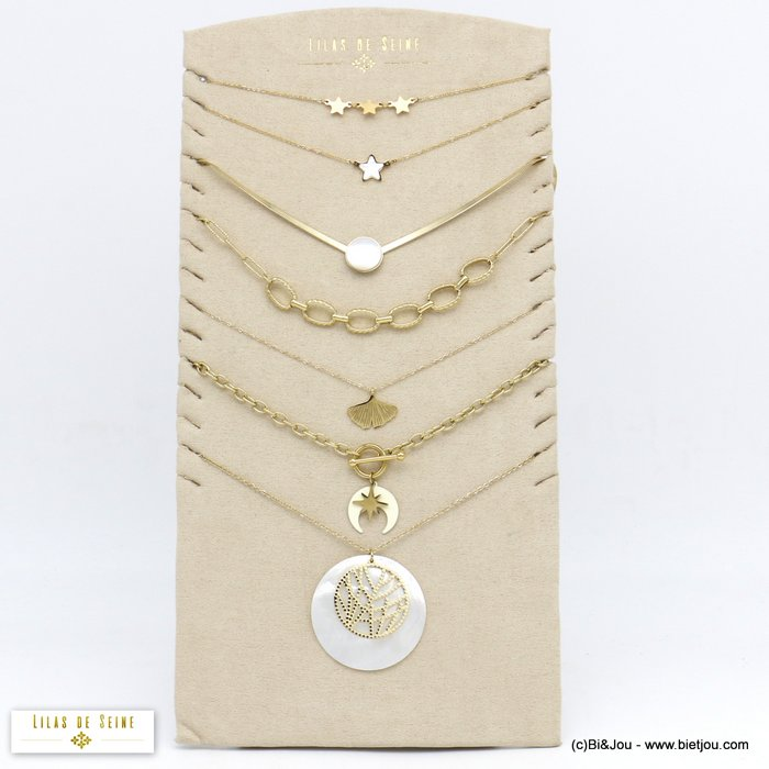 set of necklaces 0120161-99 7 pieces star shell ginko leaf in stainless steel woman