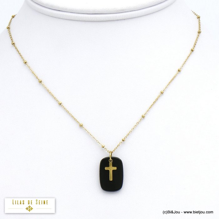 necklace 0120523-01 stainless steel cross agate stone pendant woman