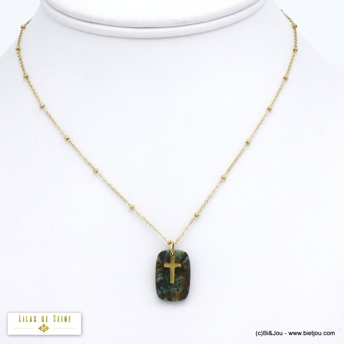 necklace 0120523-07 stainless steel cross agate stone pendant woman