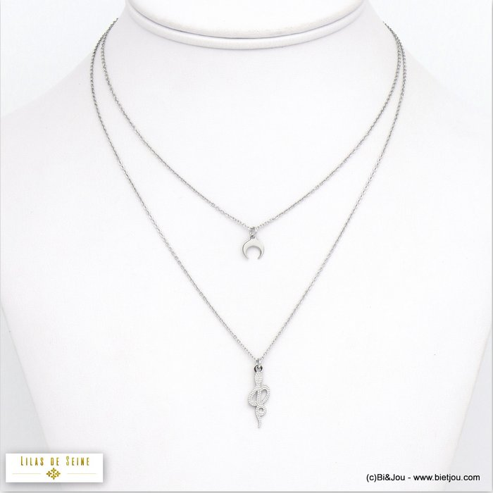 necklace 0120531-13 double-row moon musical note stainless steel