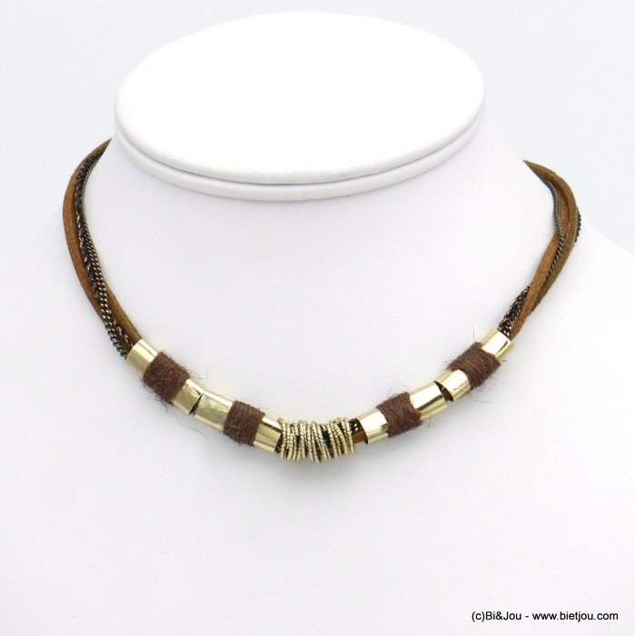 necklace 0120538-02 multi-row polyester-metal-suede