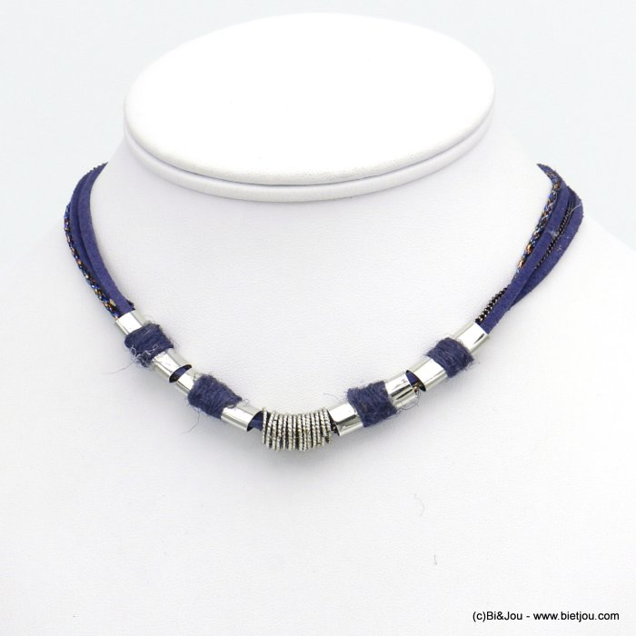 necklace 0120538-09 multi-row polyester-metal-suede