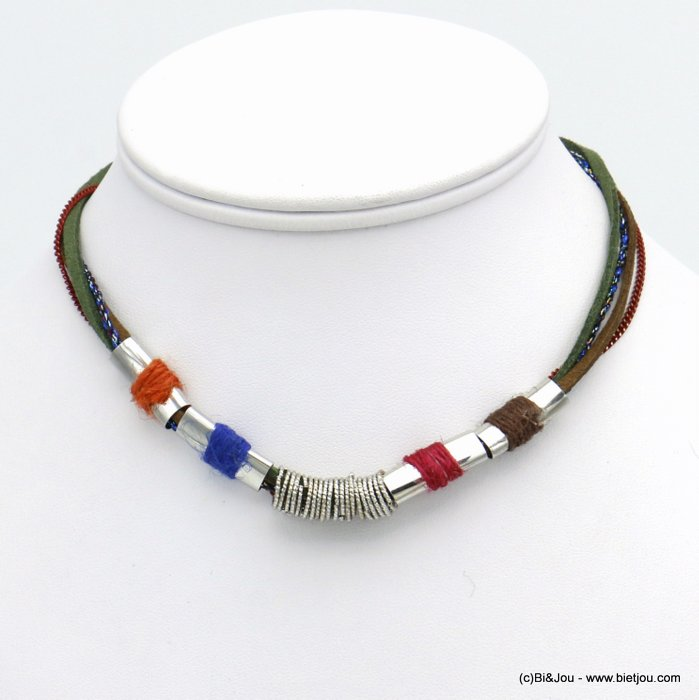 necklace 0120538-99 multi-row polyester-metal-suede