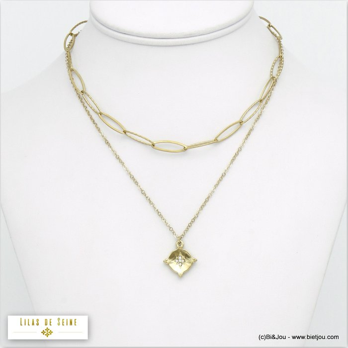 necklace 0120541-14 stainless steel layered double-row oval link chain star woman